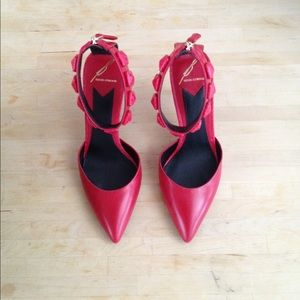 Brian Atwood red ankle strap heels